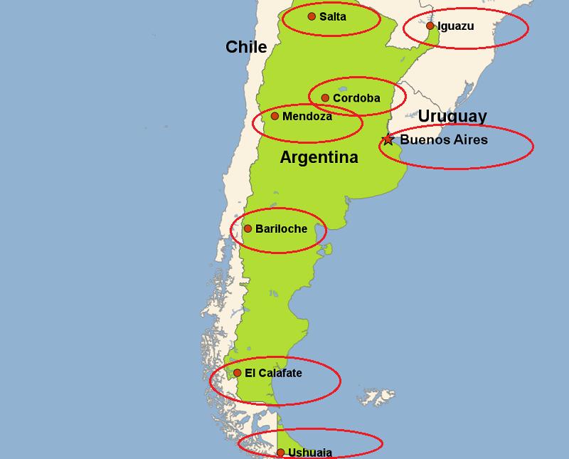 Mapa com as principais cidades turísticas da Argentina