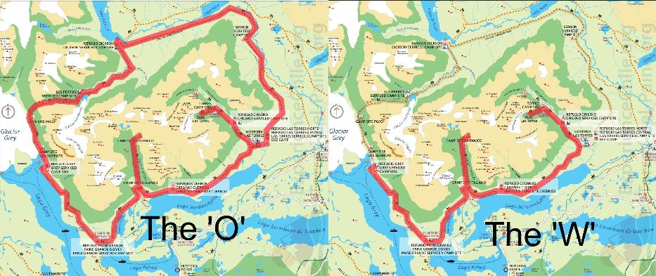 Circuitos W e O no parque Torres Del Paine