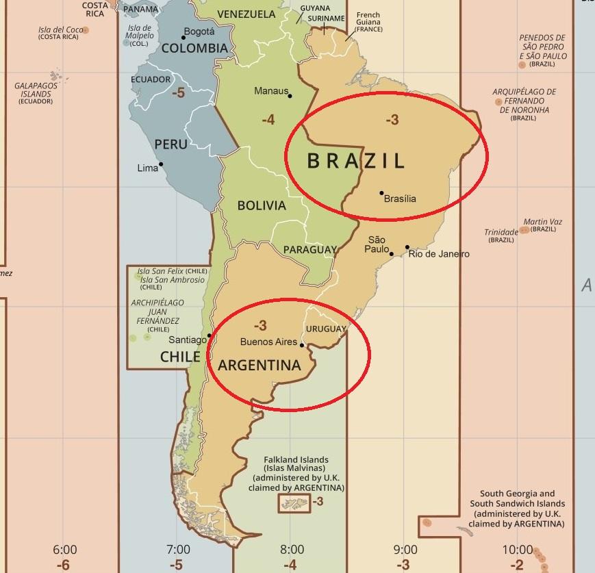 Mapa de fuso horário - Brasil e Argentina