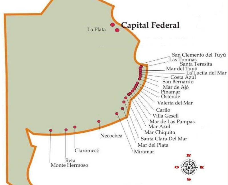 Mapa com praias argentinas