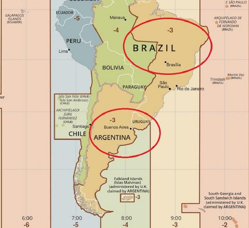 Fuso horário da Argentina - Mapa