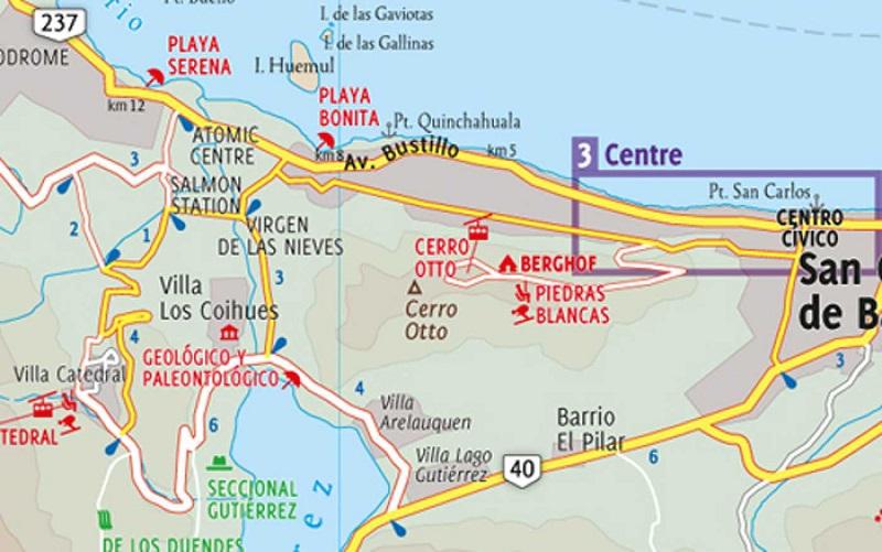 Bairros e regiões de Bariloche: Mapa