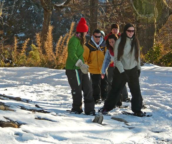 Caminhar com raquetes em Bariloche com crianças