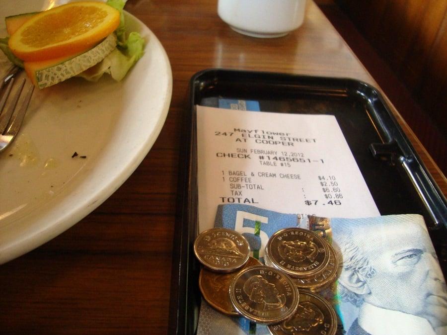 Gorjetas em bares e restaurantes em Bariloche