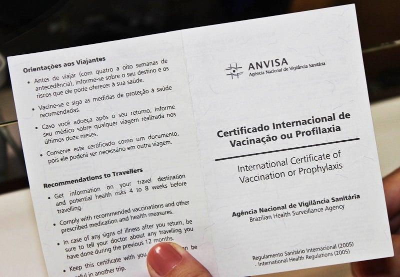 Certificado de vacinação para uma viagem na Argentina