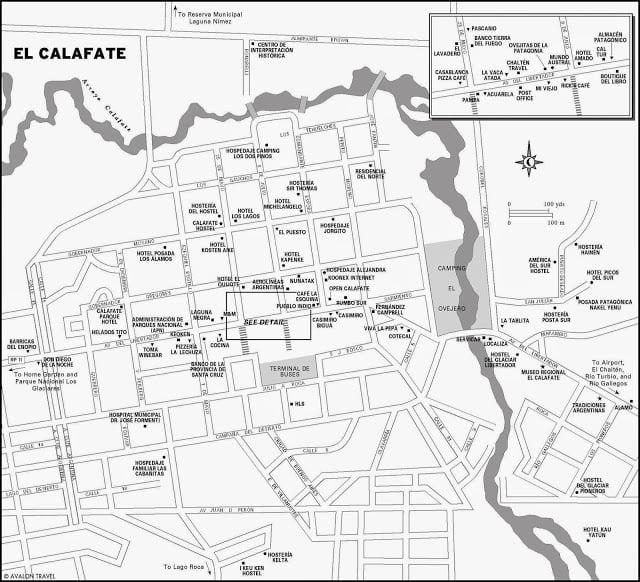 Mapa turístico de El Calafate, na Argentina