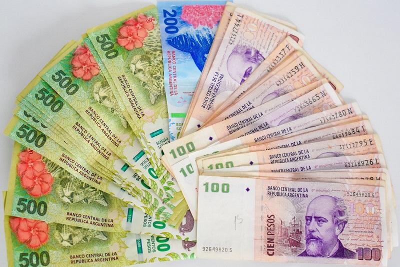 Pesos argentinos em espécie